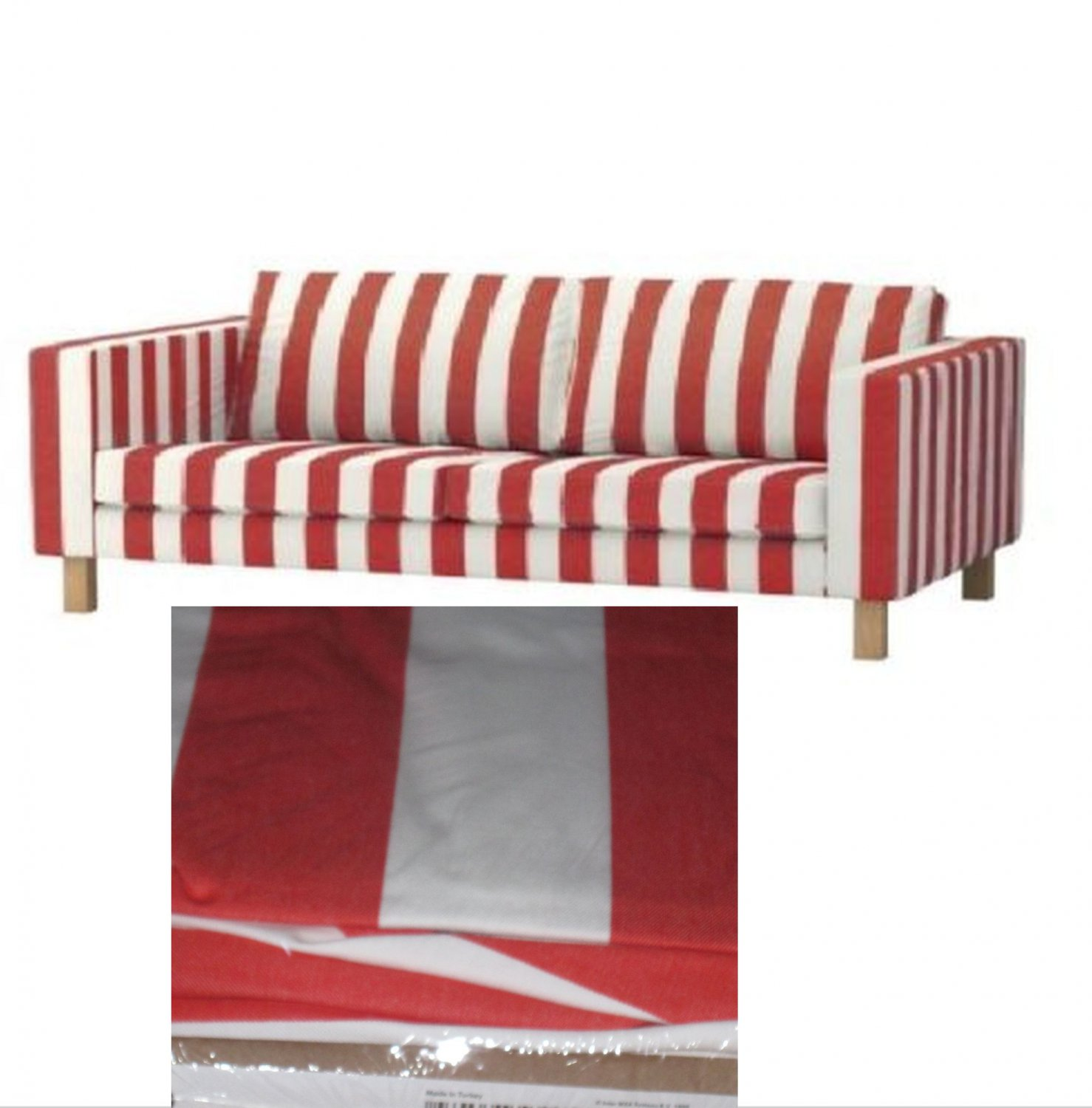 IKEA KARLSTAD 3 Seat Sofa SLIPCOVER Cover RANNEBO RED White STRIPES