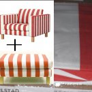 Ikea KARLSTAD Armchair and Footstool SLIPCOVER Chair Ottoman Cover RANNEBO RED White Stripes