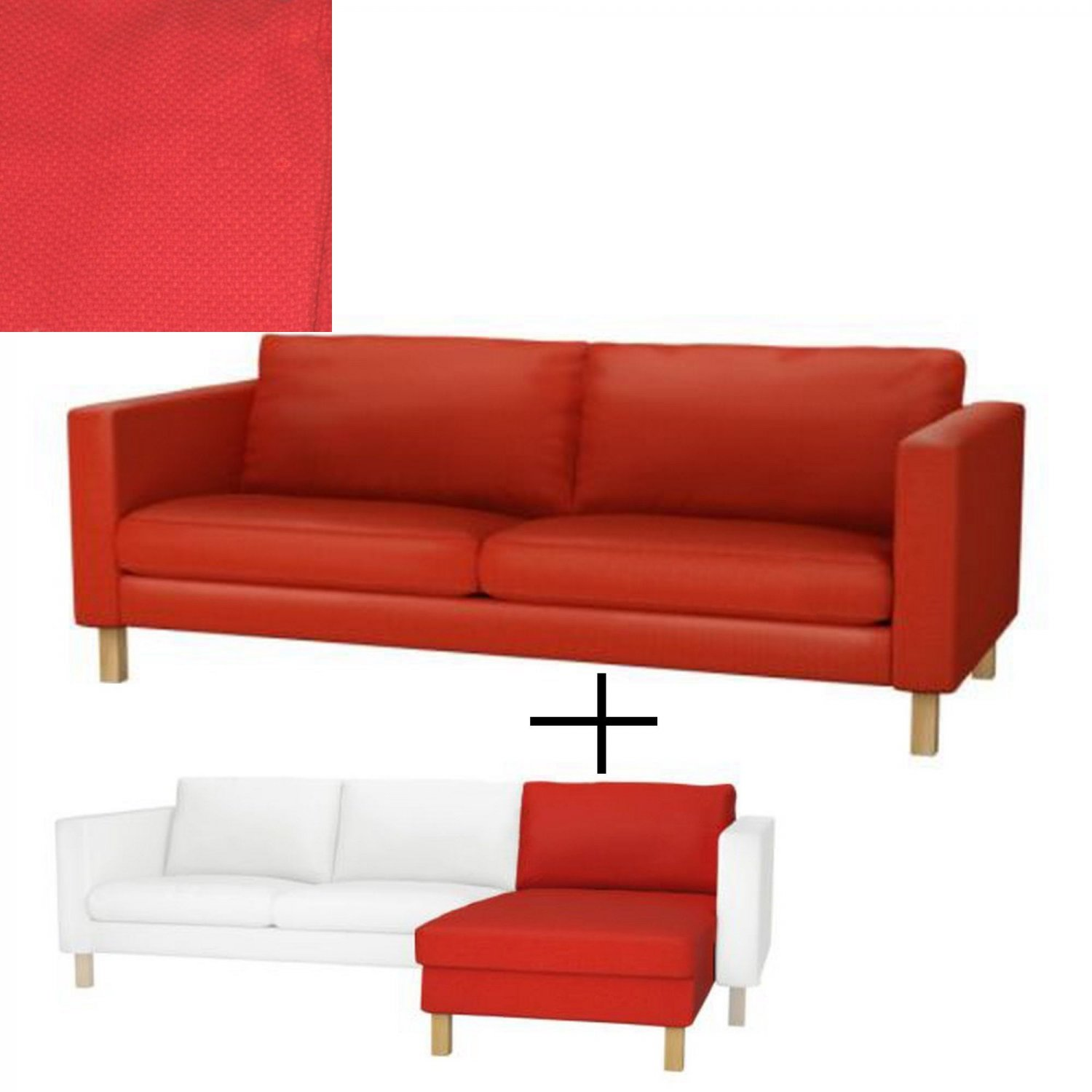 Ikea Karlstad 3 Seat Sofa And Chaise Slipcover Cover Korndal Red Add On Xmas Last One