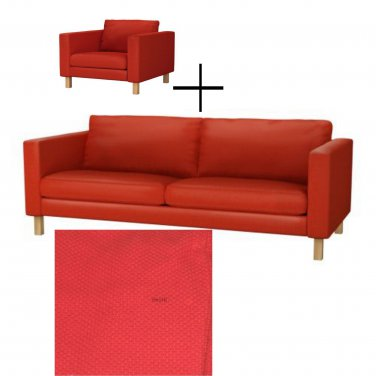 IKEA KARLSTAD 3 Seat Sofa and Armchair SLIPCOVER Cover KORNDAL RED Xmas LAST ONE