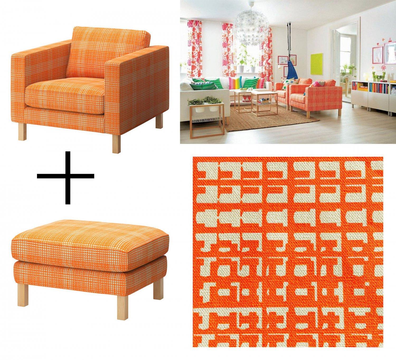 IKEA KARLSTAD HUSIE ORANGE Armchair And Footstool SLIPCOVER Chair Ottoman  Cover