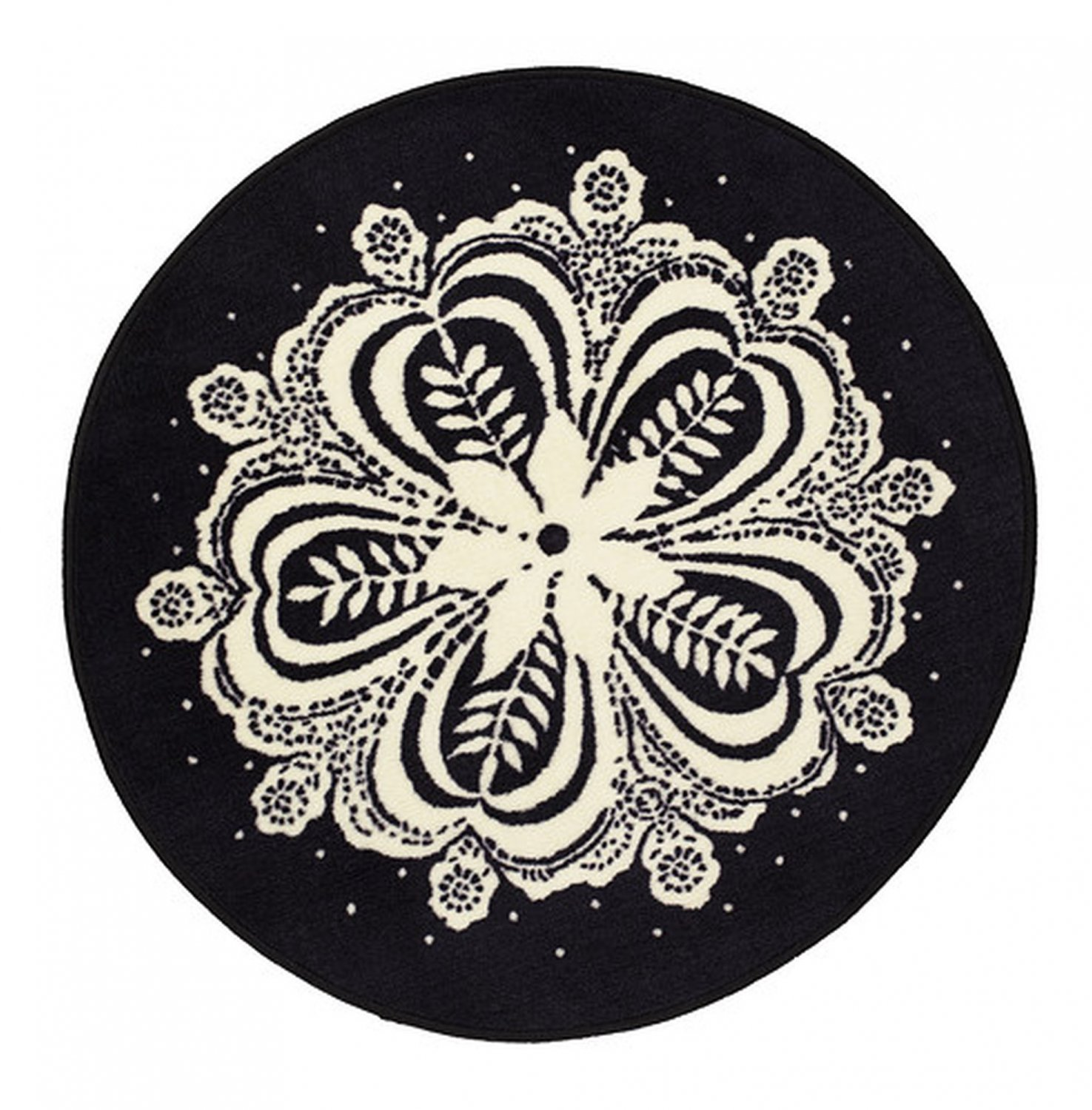 ikea flinga black white area rug throw mat mandela round snowflake xmas. Black Bedroom Furniture Sets. Home Design Ideas