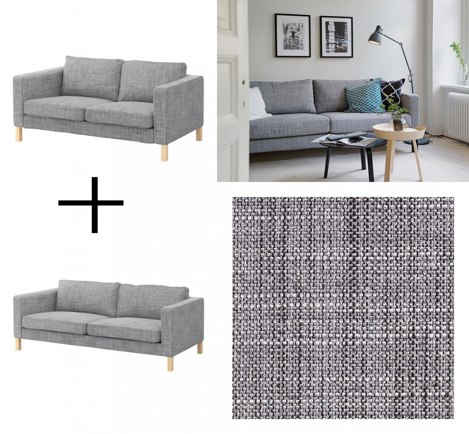 IKEA KARLSTAD Sofa and Loveseat SLIPCOVER Cover ISUNDA GRAY Grey