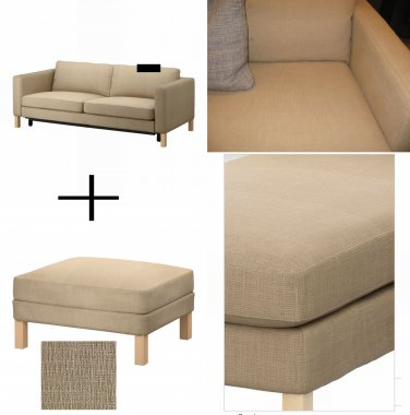 Ikea KARLSTAD Sofa Bed and Footstool SLIPCOVER Sofabed Ottoman Cover LINDO Beige Lindö