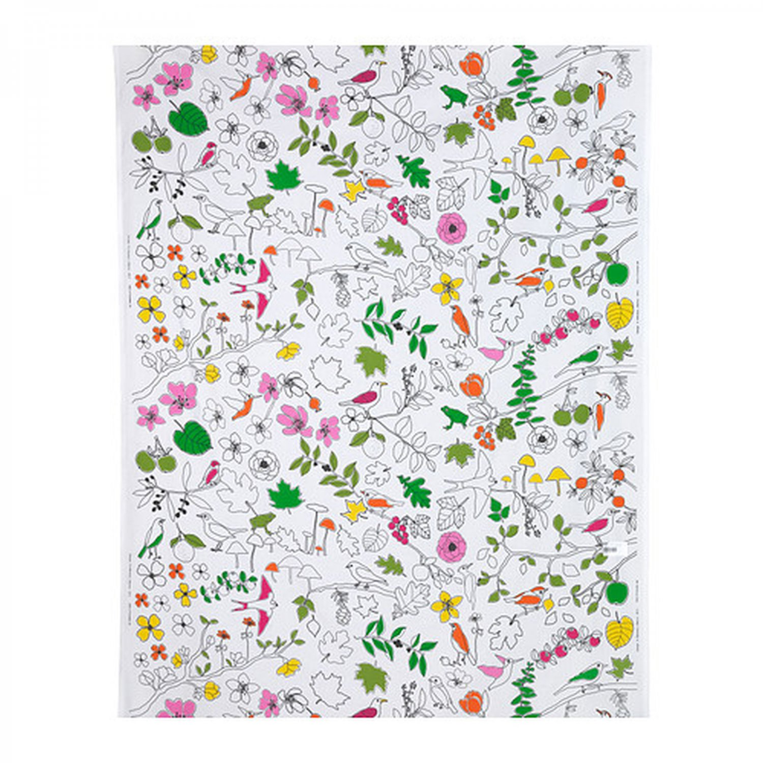 IKEA LUDOVIKA Fabric Material BIRDS Flowers Trees Frogs Meadow PINK Orange Green White