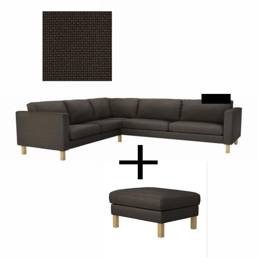 ikea karlstad corner sofa and footstool slipcover cover korndal brown 2 3 3 2. Black Bedroom Furniture Sets. Home Design Ideas