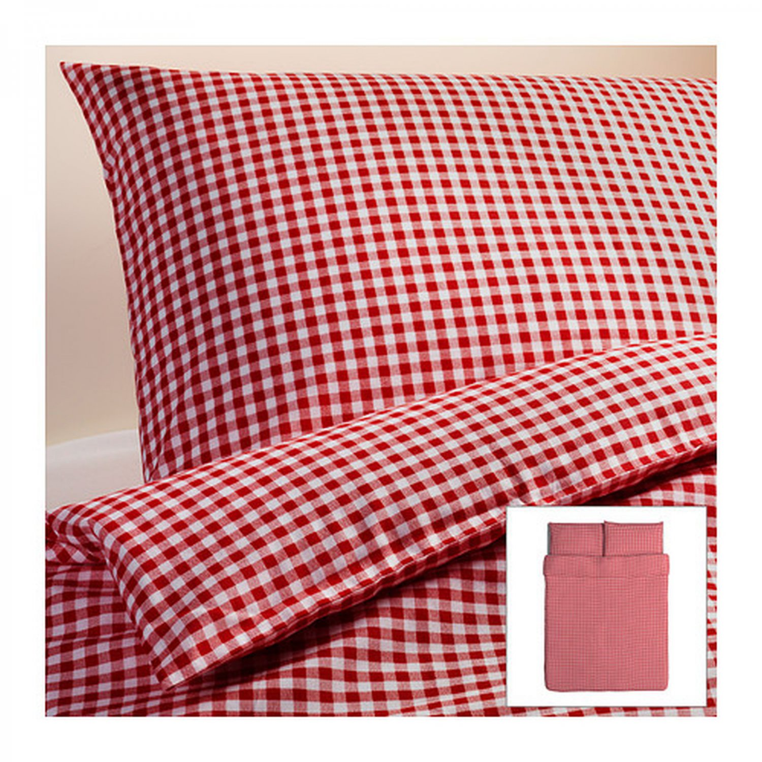 Ikea Liamaria Queen Duvet Cover Pillowcases Set Red