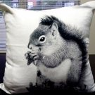 "IKEA ELDBLOMMA SQUIRREL Cushion COVER Pillow Sham  20"" x 20"" Xmas Chalet Nature Gray"