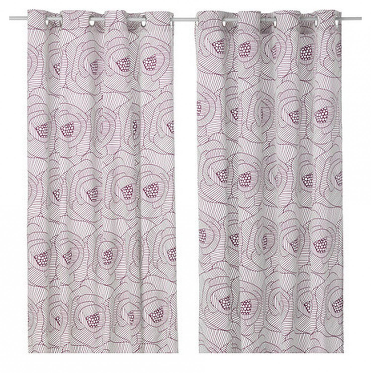 "IKEA INGERLISE CURTAINS Drapes 2 Panels LILAC Grommets 98"" Purple White Contemporary"