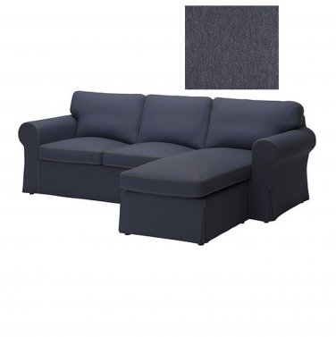 IKEA Ektorp Loveseat and Chaise SLIPCOVER 2 Seat Sofa w Chaise Cover JONSBODA BLUE