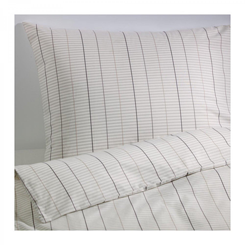 ikea stockholm king beige white gray duvet cover set. Black Bedroom Furniture Sets. Home Design Ideas