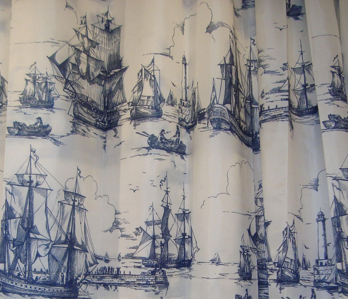 ikea aggersund boats fabric shower curtain blue white nautical sailing ships naval - Ikea Shower Curtains