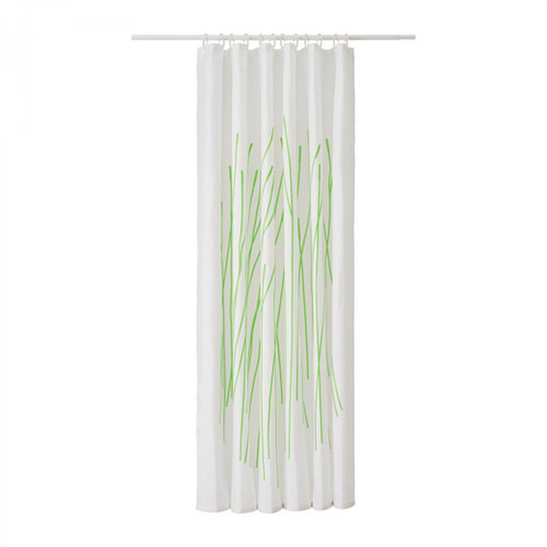 Ikea dramselva fabric shower curtain green bamboo pattern - Green curtain patterns ...