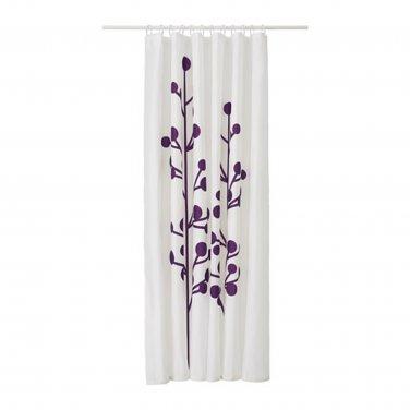 IKEA DRAMSELVA Fabric SHOWER Curtain LILAC Purple Floral Pattern WHITE