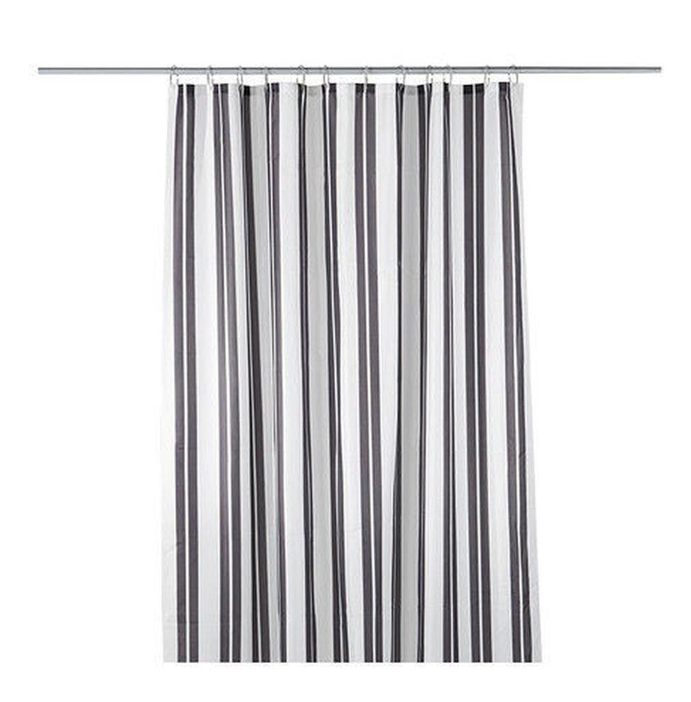 Ikea Skagern Fabric Shower Curtain Gray White Stripes Grey Bathroom