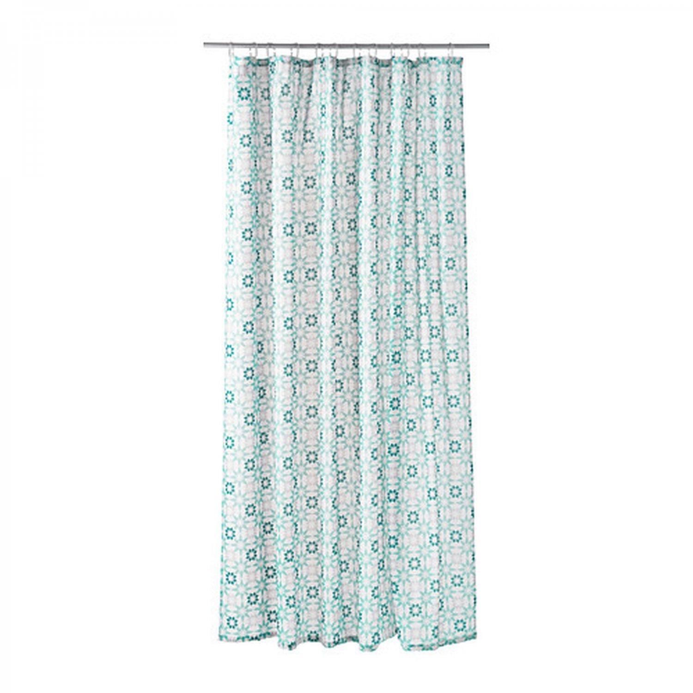 Ikea Ingeborg Turquoise White Fabric Shower Curtain
