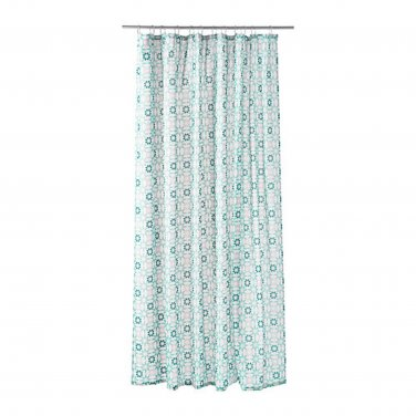 IKEA INGEBORG Turquoise White FABRIC SHOWER CURTAIN Snowflake Star Geometric Pattern