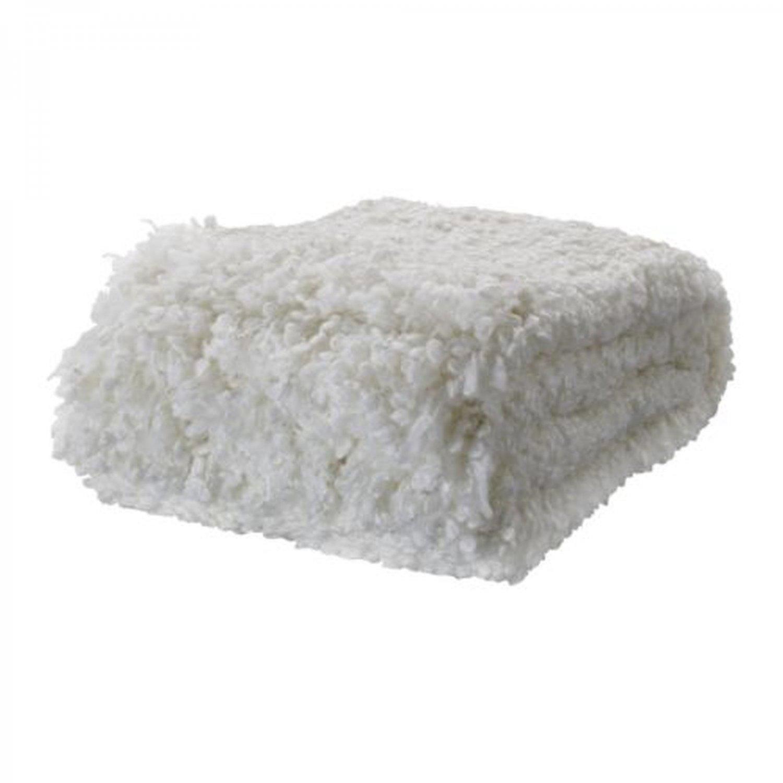 IKEA OFELIA WHITE Throw BLANKET Acrylic Wool Photo PROP Textured