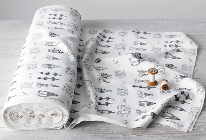 IKEA SISSELA Fabric Material BOTANICAL Print DARK GRAY White 1 Yd Grey