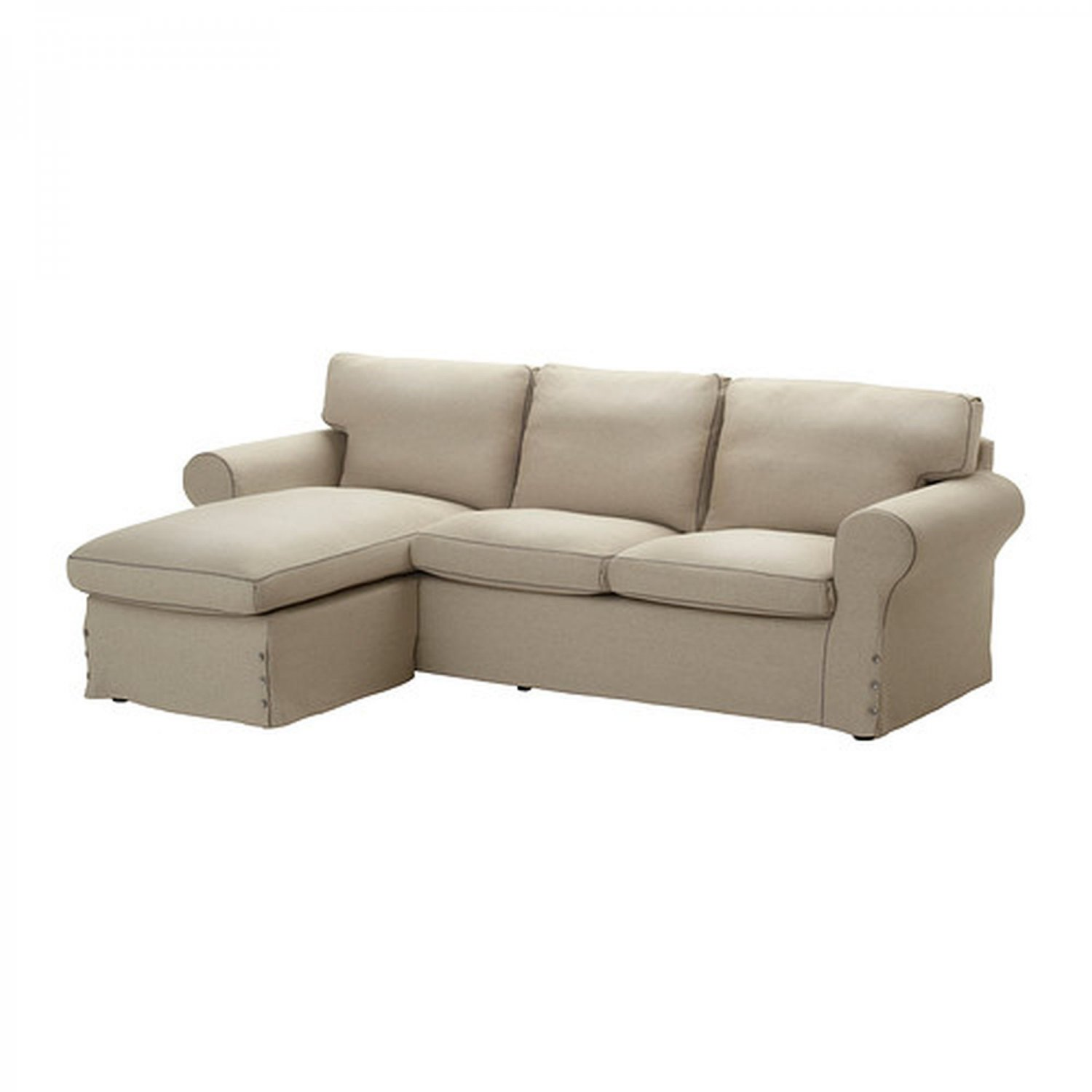 IKEA EKTORP Loveseat sofa w Chaise COVER 3-seat sectional Slipcover RISANE NATURAL Linen beige
