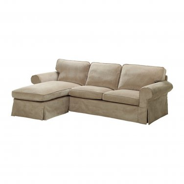 IKEA EKTORP Loveseat Sofa W Chaise COVER 3 Seat Sectional Slipcover  VELLINGE BEIGE