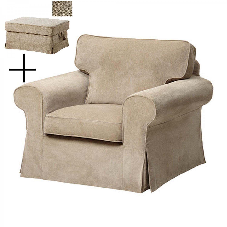 IKEA EKTORP Armchair and BROMMA Footstool COVER Chair Ottoman