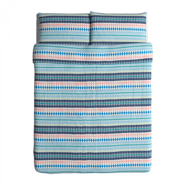 IKEA Mossflox Queen Full Duvet COVER Pillowcase Set Blue Multicolour Modern