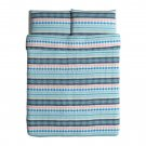 IKEA Mossflox Queen Full Duvet COVER Pillowcase Set Blue Multicolour Modern