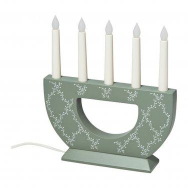IKEA Strala Christmas CANDELABRA LED 5 Arm GREEN White WOOD Glansa Strala XMAS Swedish Lamp Light