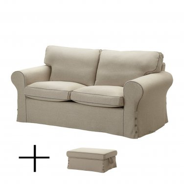 IKEA EKTORP 2 Seat Sofa and Footstool SLIPCOVERS Loveseat Ottoman Cover RISANE NATURAL Linen Blend