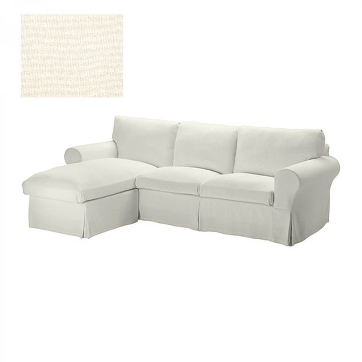 ikea ektorp loveseat sofa w chaise slipcover 3 seat sectional cover stenasa white sten sa linen. Black Bedroom Furniture Sets. Home Design Ideas