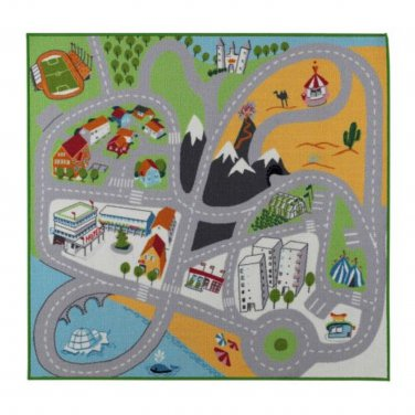 IKEA Lekplats Area Throw RUG Play Mat CAR TRAIN ROAD City Country Race Track Kids