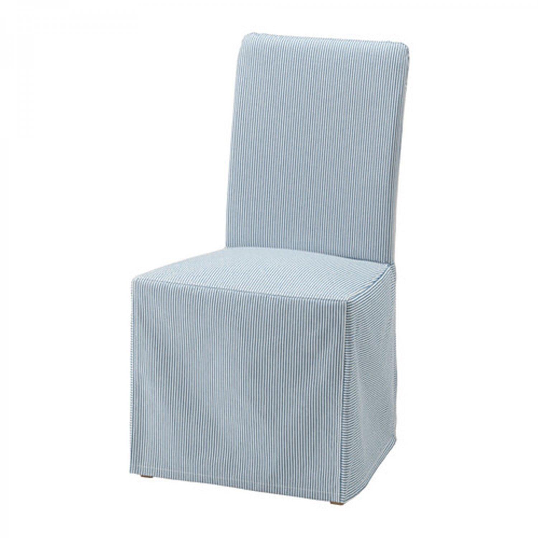 IKEA Henriksdal Chair SLIPCOVER Cover Skirted REMVALLEN Blue White Stripes Long