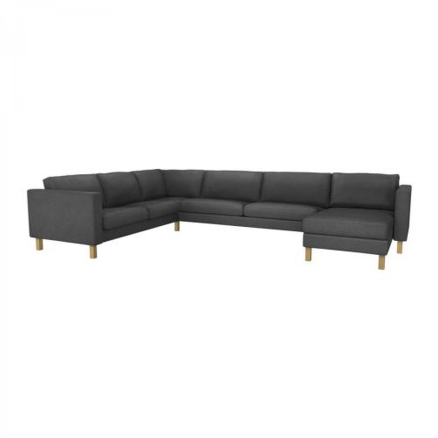 Ikea karlstad corner sofa with chaise slipcover cover sivik dark gray 2 3 3 2 grey w add on Ikea karlstad sofa