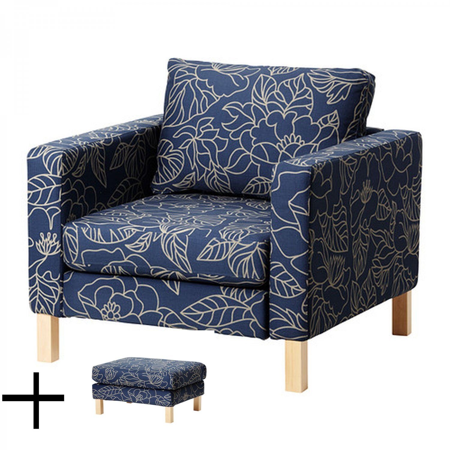 Ikea Karlstad Bladaker Blue Armchair And Footstool