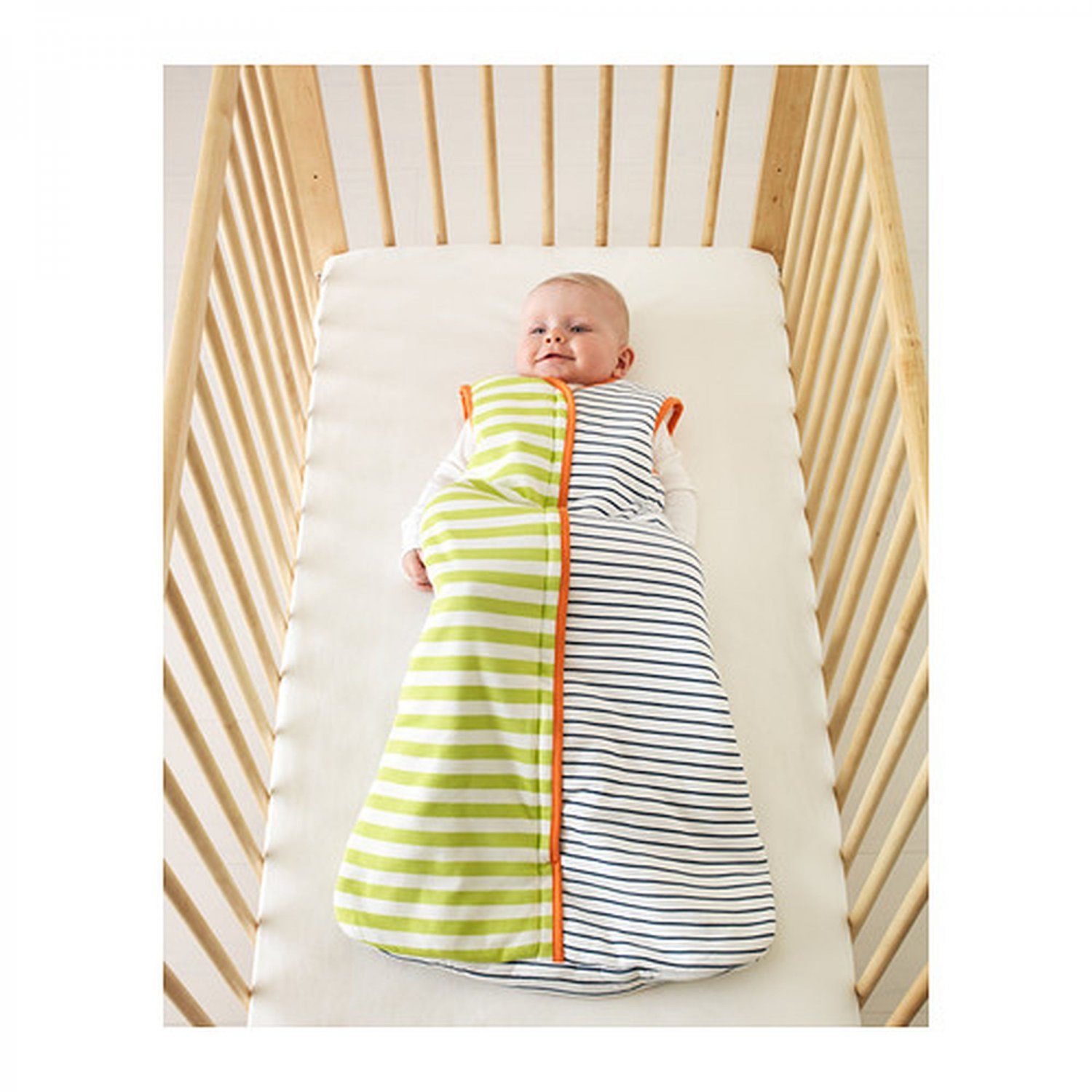 IKEA PYTTELILLA Wearable BABY Blanket BLUE Green STRIPES ...