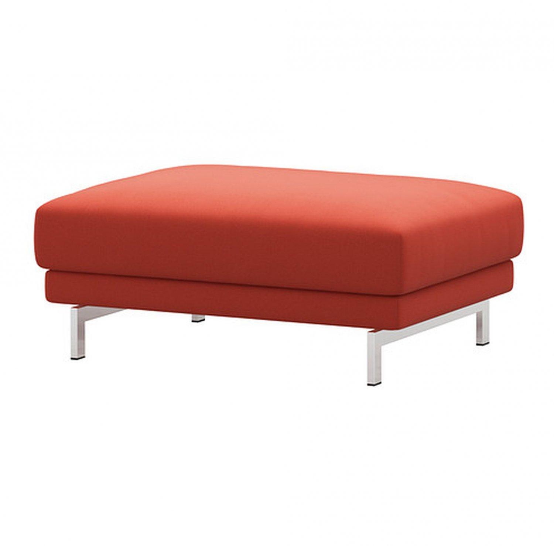 IKEA Nockeby Footstool SLIPCOVER Ottoman COVER Risane  ORANGE Linen
