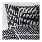 IKEA Bjornloka Ruta KING Duvet COVER Pillowcases Set BLACK White BJÖRNLOKA