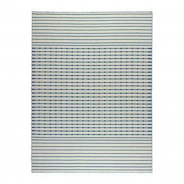 IKEA TJAREBY Area RUG Mat WOOL Blue White Striped Hand-Woven TJ�REBY Flatwoven