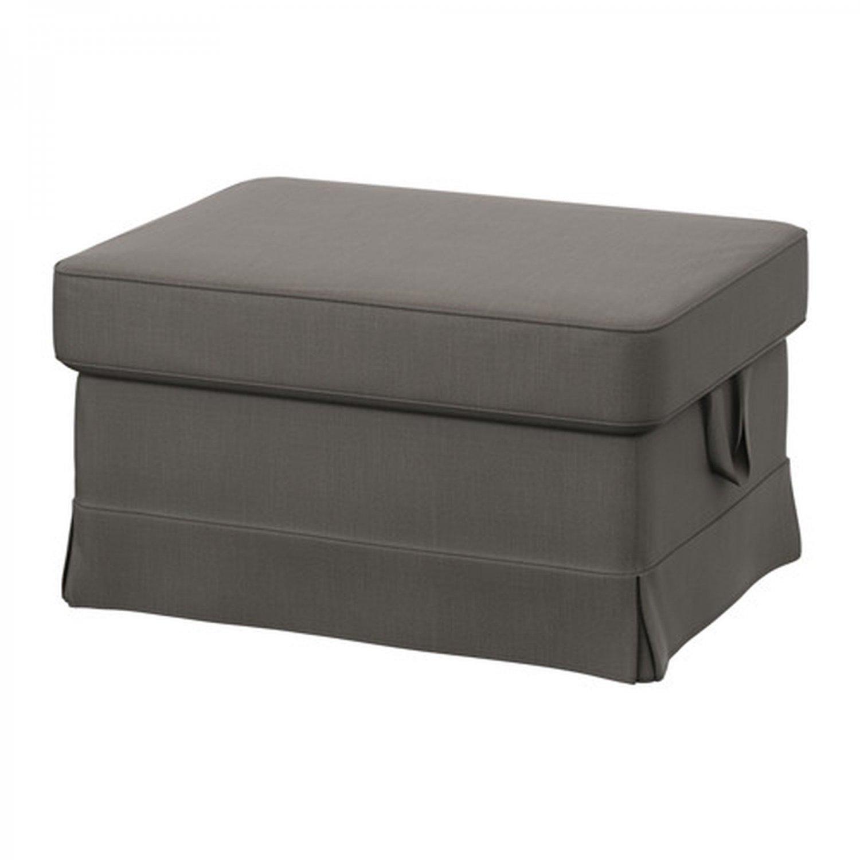 ikea ektorp footstool cover ottoman slipcover nordvalla gray grey. Black Bedroom Furniture Sets. Home Design Ideas