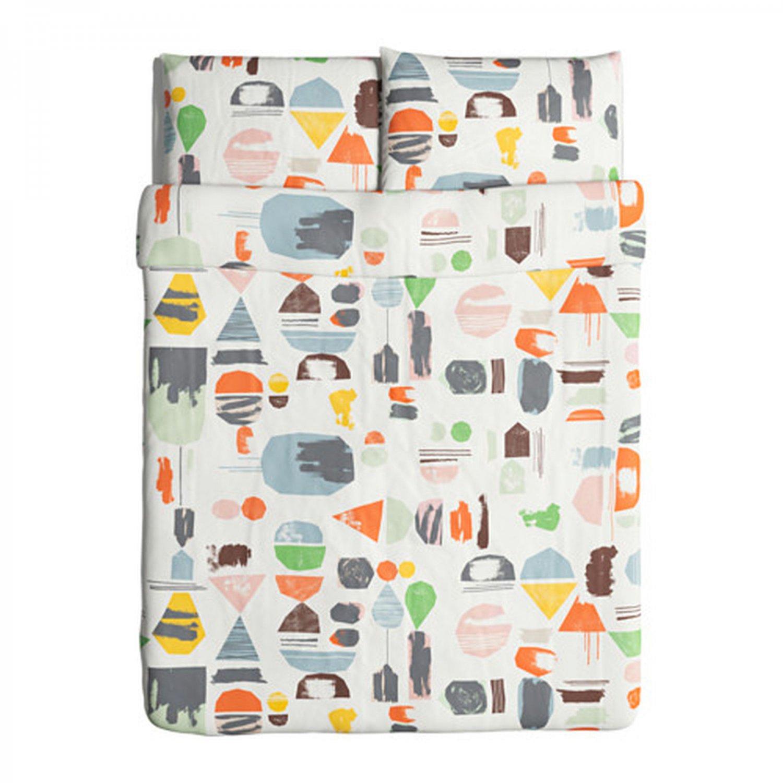 IKEA Doftklint QUEEN Full Duvet COVER Pillowcases Set Multicolor Modern Art Double