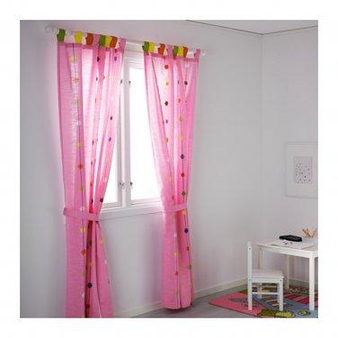 "IKEA Festlig CURTAINS Drapes PINK Flower Applique 98"" Girl Princess"