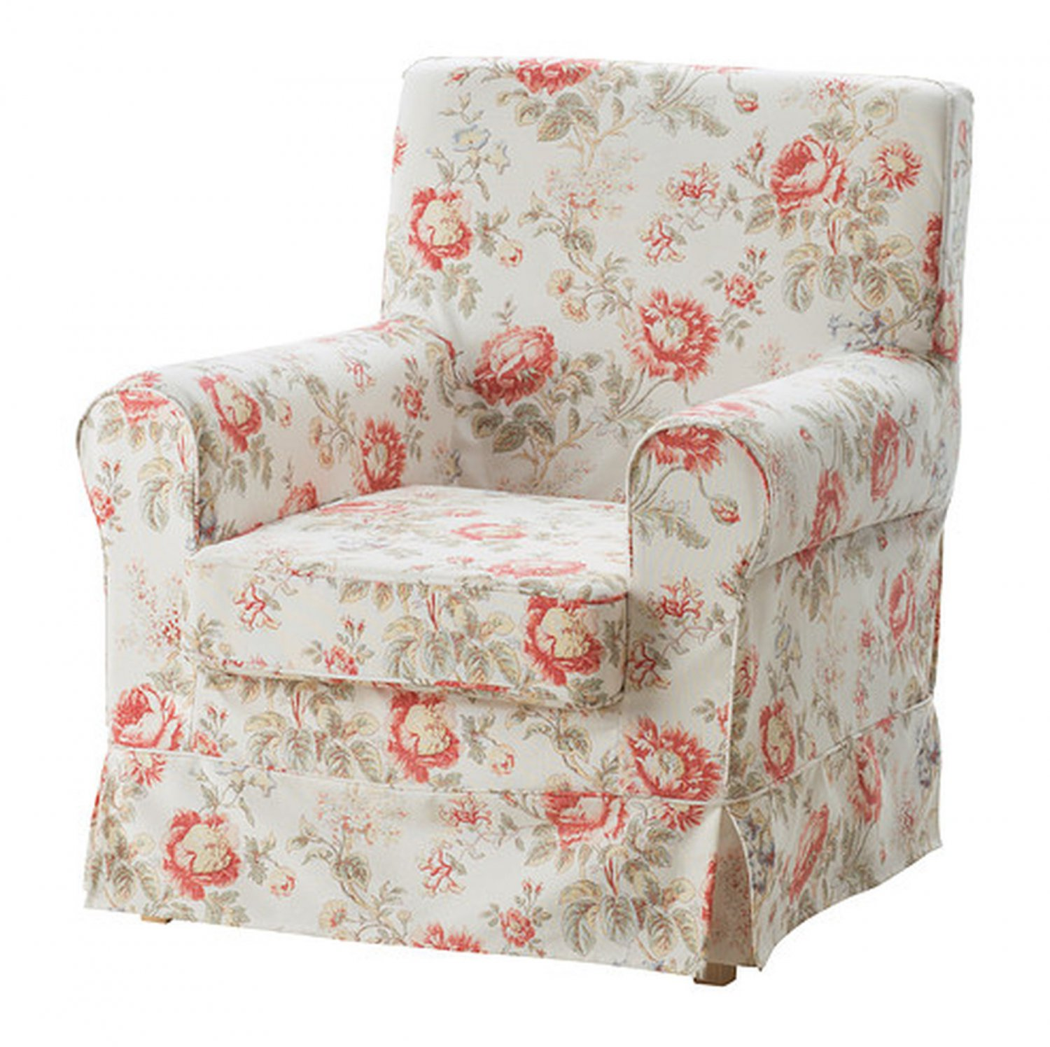 IKEA Ektorp JENNYLUND Armchair SLIPCOVER Chair Cover BYVIK Multi FLORAL Rose Peony Romantic