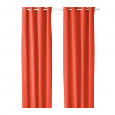"""IKEA Sanela CURTAINS Drapes 2 Panels ORANGE VELVET  98"""" Grommet Eyelet Top"""