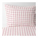 IKEA Vinter 2016 QUEEN Duvet COVER Pillowcases Set RED White Grid Double Full Xmas Checked Squares