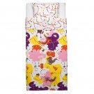 IKEA Sangfagel TWIN Duvet COVER Pillowcase Set Multicolour Fiary Tale Birds Dragons SÅNGFÅGEL Pink
