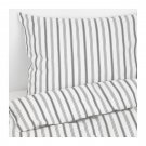 IKEA Hostoga TWIN Duvet COVER Pillowcase Set TICKING STRIPES Gray HÖSTÖGA