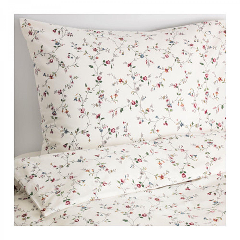 IKEA Ljusoga QUEEN Full Double Duvet COVER Pillowcases Set Floral Delicate Flower Sprays LJUS�GA