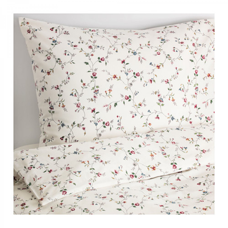IKEA Ljusoga TWIN Single Duvet COVER Pillowcase Set Floral Delicate Flower Sprays LJUS�GA