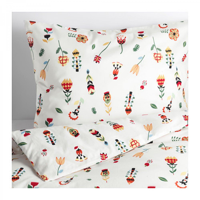 IKEA Rosenfibbla QUEEN Full Double Duvet COVER Pillowcases Set Scandinavian Floral